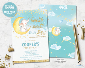 twinkle twinkle little star elephant on a crescent moon 1st birthday boy invitation editable template digital printable file
