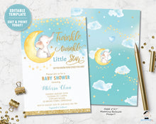 Load image into Gallery viewer, whimsical twinkle twinkle little star elephant on crescent moon baby boy shower invitation editable template printable file