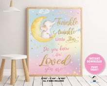 Load image into Gallery viewer, whimsical rainbow sky twinkle twinkle little star with elephant sitting on crescent moon wall art kids room decor instant download printable file
