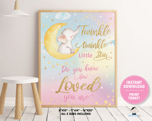 whimsical rainbow sky twinkle twinkle little star with elephant sitting on crescent moon wall art kids room decor instant download printable file