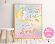 Load image into Gallery viewer, rainbow sky twinkle twinkle little star do you know how loved you are nursery wall art decor instant download printable file