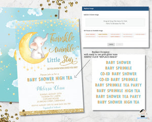 whimsical little elephant on crescent moon among twinkling stars twinkle star baby shower invitation editable template printable file
