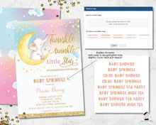 Load image into Gallery viewer, twinkle little star elephant sitting on crescent moon baby girl shower invitation editable template