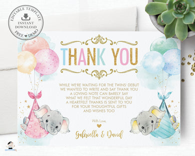 Whimsical Twin Boy Girl Elephant Baby Shower Personalized Thank You Note Card Editable Template - Digital Printable File - EP3