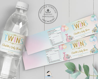 Twin Boy and Girl Elephant Baby Shower Personalized Water Bottle Labels Editable Template - Digital Printable File - EP3