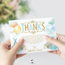 Load image into Gallery viewer, Whimsical Twin Boys Elephant Baby Shower Personalized Thank You Note Card Editable Template - Digital Printable File - EP3