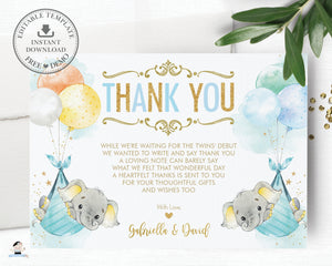 Whimsical Twin Boys Elephant Baby Shower Personalized Thank You Note Card Editable Template - Digital Printable File - EP3