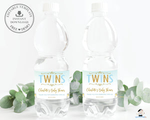 Twin Boys Elephant Baby Shower Personalized Water Bottle Labels Editable Template - Digital Printable File - EP3