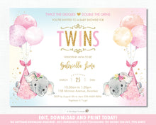 Load image into Gallery viewer, Whimsical Twin Girls Elephant Baby Shower Personalized Invitation Editable Template - Digital Printable File - EP3