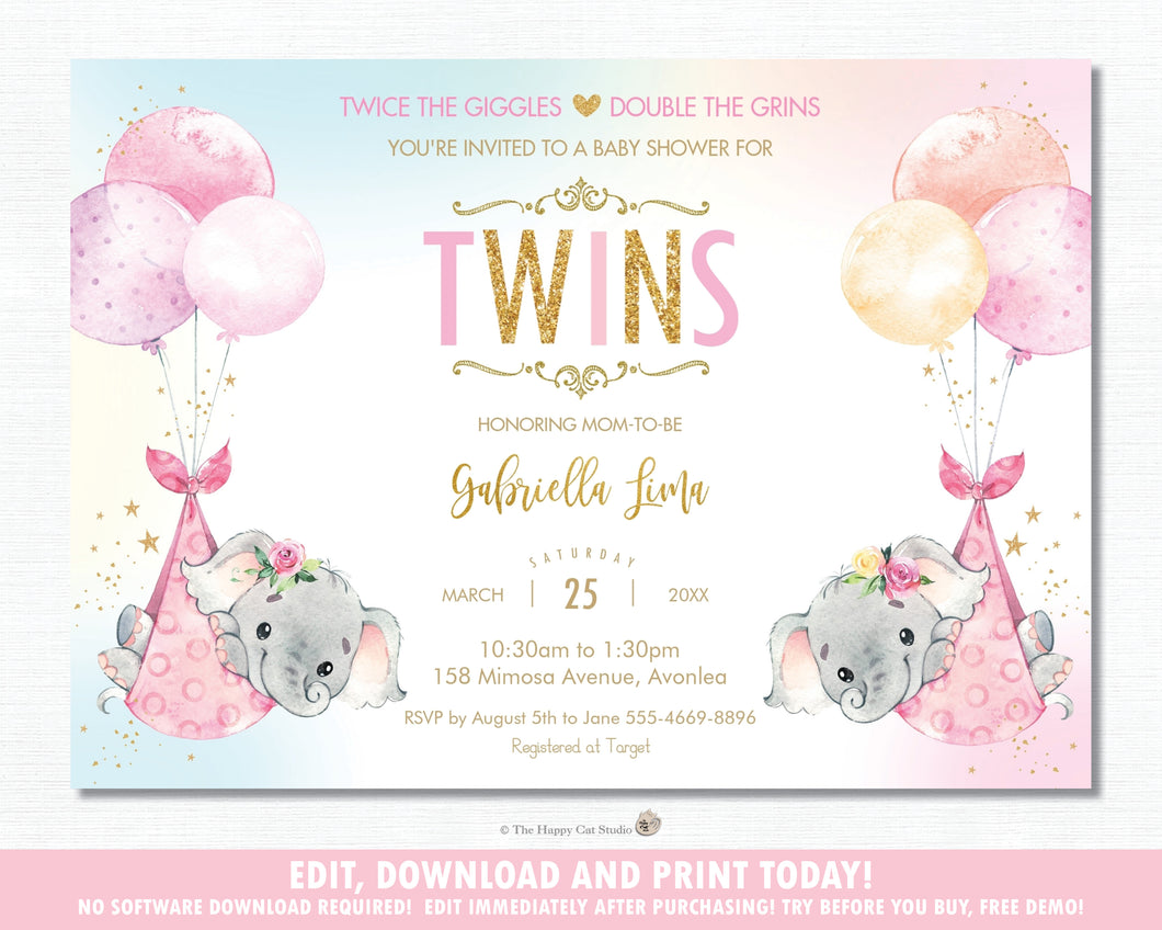 Whimsical Twin Girls Elephant Baby Shower Personalized Invitation Editable Template - Digital Printable File - EP3