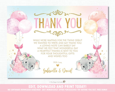 Whimsical Twin Girls Elephant Baby Shower Personalized Thank You Note Card Editable Template - Digital Printable File - EP3