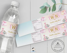 Load image into Gallery viewer, Twin Girls Elephant Baby Shower Personalized Water Bottle Labels Editable Template - Digital Printable File - EP3