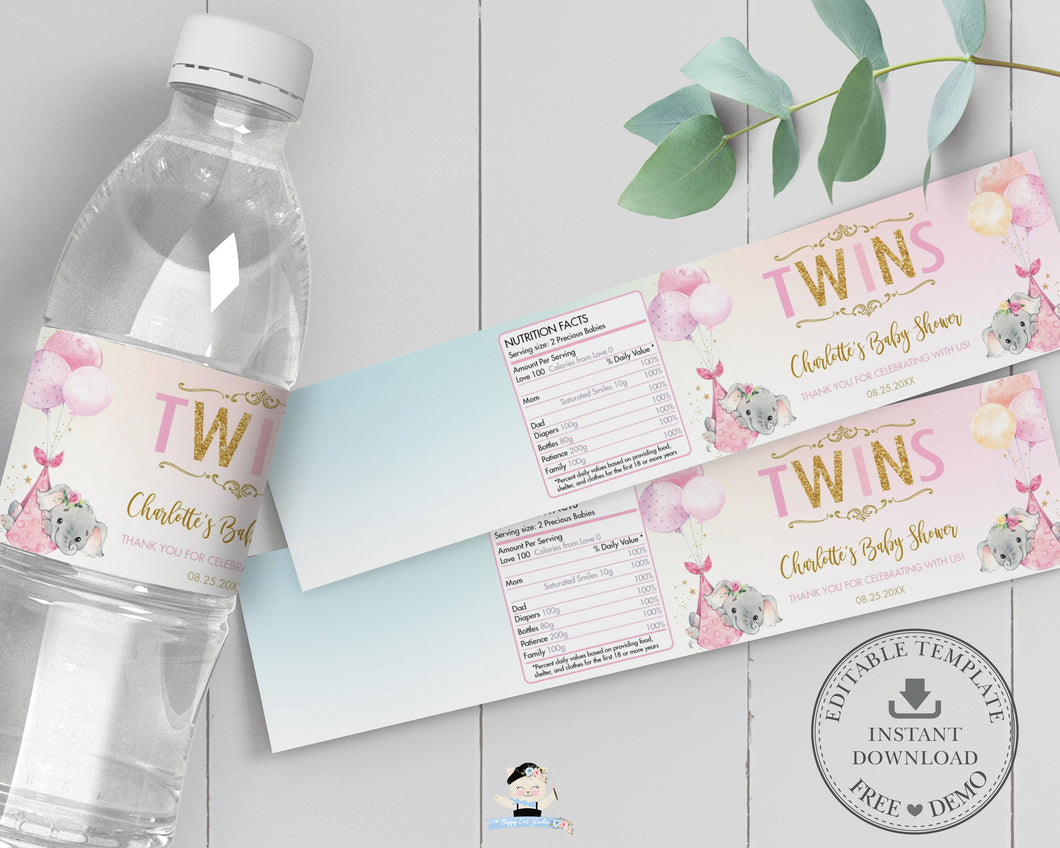 Twin Girls Elephant Baby Shower Personalized Water Bottle Labels Editable Template - Digital Printable File - EP3
