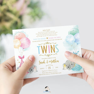 Elephant Baby Shower by Mail Invitation Twins Baby Boy and Girl Long Distance Virtual Shower - Editable Template - Instant Download - EP3