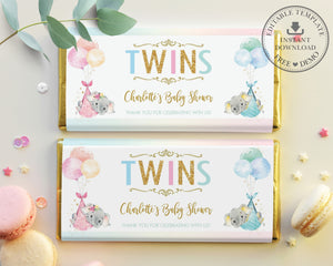 Twin Boy Girl Elephant Baby Shower Personalized Chocolate Bar Wrapper Editable Template - Digital Printable File - EP3