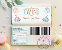 Load image into Gallery viewer, Twin Boy Girl Elephant Baby Shower Personalized Chocolate Bar Wrapper Editable Template - Digital Printable File - EP3