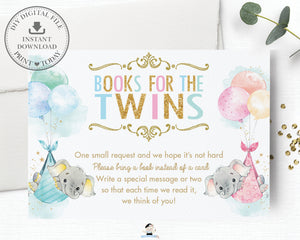 Whimsical Twin Girl Boy Elephant Bring a Book Instead of a Card Insert - Digital Printable File - Instant Download -EP3