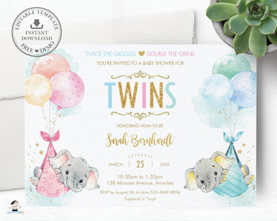Whimsical Twin Boy Girl Elephant Baby Shower Personalized Invitation Editable Template - Digital Printable File - EP3