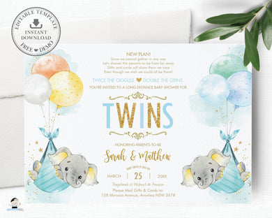 Elephant Baby Shower by Mail Invitation Twins Baby Boys Long Distance Virtual Shower - Editable Template - Instant Download - EP3