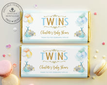 Load image into Gallery viewer, Twin Boys Elephant Baby Shower Personalized Chocolate Bar Wrapper Editable Template - Digital Printable File - EP3