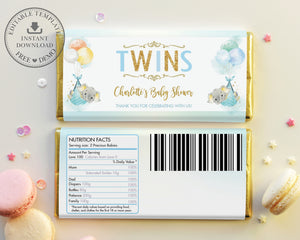 Twin Boys Elephant Baby Shower Personalized Chocolate Bar Wrapper Editable Template - Digital Printable File - EP3