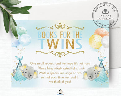 Whimsical Twin Boys Elephant Bring a Book Instead of a Card Insert - Digital Printable File - Instant Download -EP3