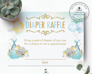 Whimsical Twin Boys Elephant Diaper Raffle Ticket Insert Card - Digital Printable File - Instant Download -EP3