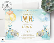 Load image into Gallery viewer, Whimsical Twin Boys Elephant Baby Shower Personalized Invitation Editable Template - Digital Printable File - EP3