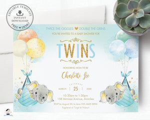 Whimsical Twin Boys Elephant Baby Shower Personalized Invitation Editable Template - Digital Printable File - EP3