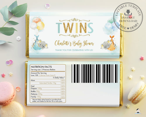 Twins Gender Neutral Elephant Baby Shower Personalized Chocolate Bar Wrapper Editable Template - Digital Printable File - EP3
