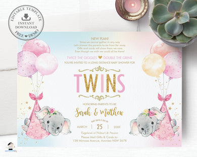Elephant Baby Shower by Mail Invitation Twins Baby Girls Long Distance Virtual Shower - Editable Template - Instant Download - EP3