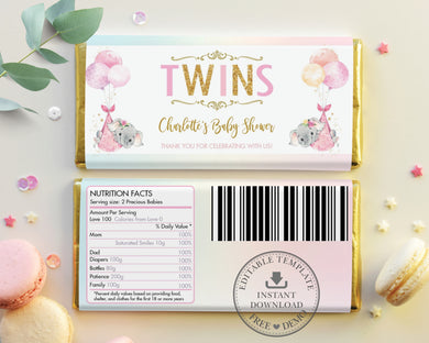 Twin Girls Elephant Baby Shower Personalized Chocolate Bar Wrapper Editable Template - Digital Printable File - EP3