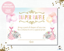 Load image into Gallery viewer, Whimsical Twin Girls Elephant Diaper Raffle Ticket Insert Card - Digital Printable File - Instant Download -EP3