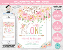 Load image into Gallery viewer, Elephant Wild One Boho Pink Floral Dream Catcher 1st Birthday Invitation Editable Template - Digital Printable File - Instant Download - BF2