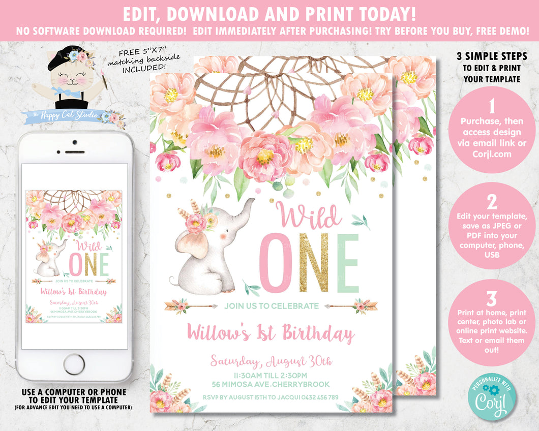 Elephant Wild One Boho Pink Floral Dream Catcher 1st Birthday Invitation Editable Template - Digital Printable File - Instant Download - BF2