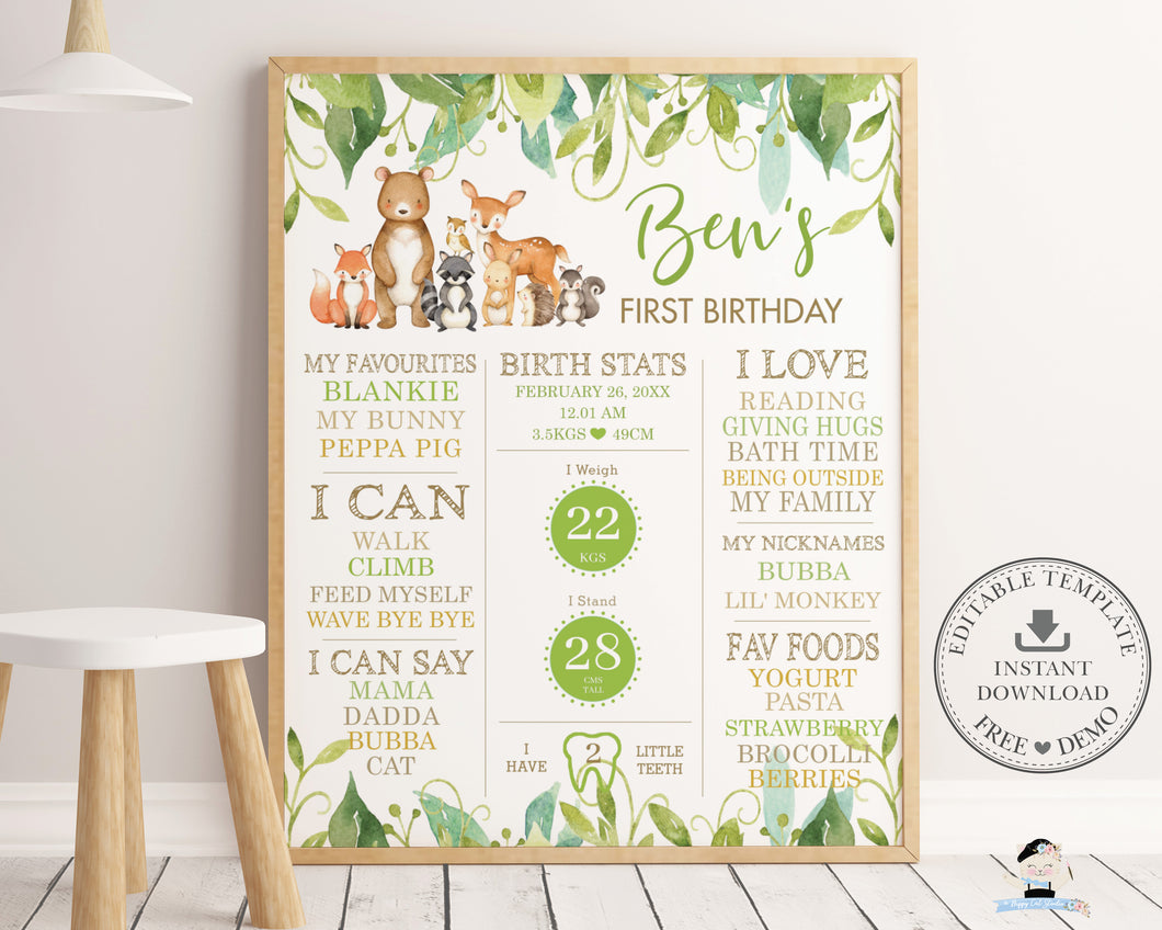 Whimsical Greenery Woodland Animals 1st Birthday Milestone Sign Birth Stats Editable Template - Digital Printable File - Instant Download - WG7