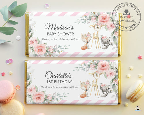 Woodland Animals Pink Floral Greenery Chocolate Bar Wrapper Aldi Hershey's - Editable Template - Digital Printable File - Instant Download - WG10