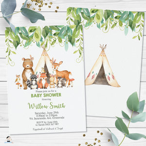 Tribal Greenery Woodland Animals Invitation Baby Shower Birthday - Editable Template - Digital Printable File - Instant Download WG1