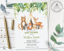 Load image into Gallery viewer, Tribal Greenery Woodland Animals Invitation Baby Shower Birthday - Editable Template - Digital Printable File - Instant Download WG1