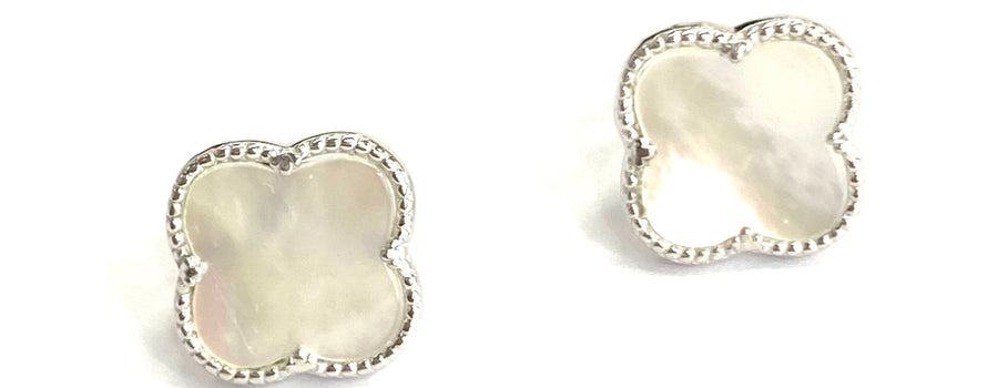 Silver white mother of pearl clover stud earrings