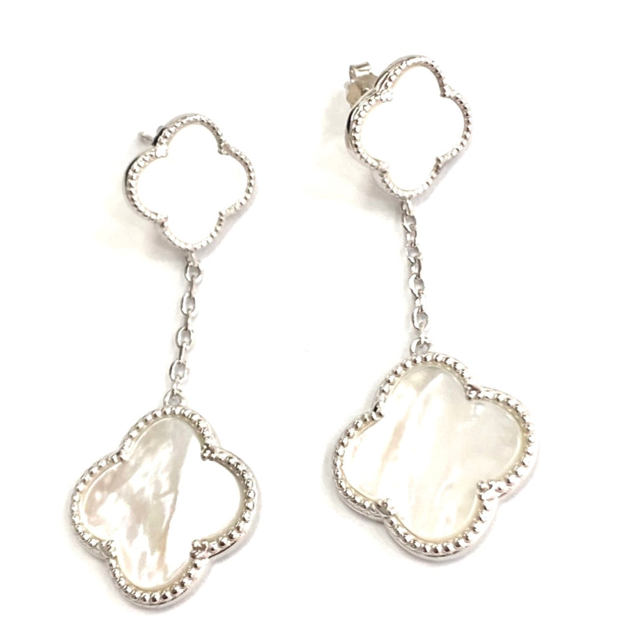 Silver white mother of pearl clover earrings