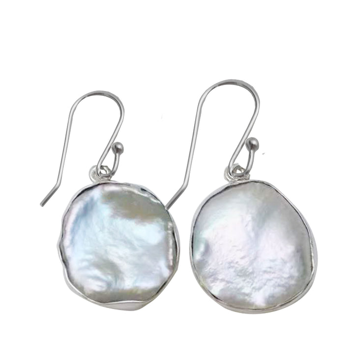 Keshi pearl hook earrings