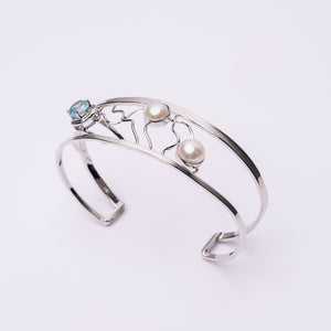 Freshwater Pearl and Blue Topaz Bangle