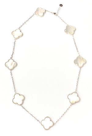 Silver white mother of pearl clover short necklace