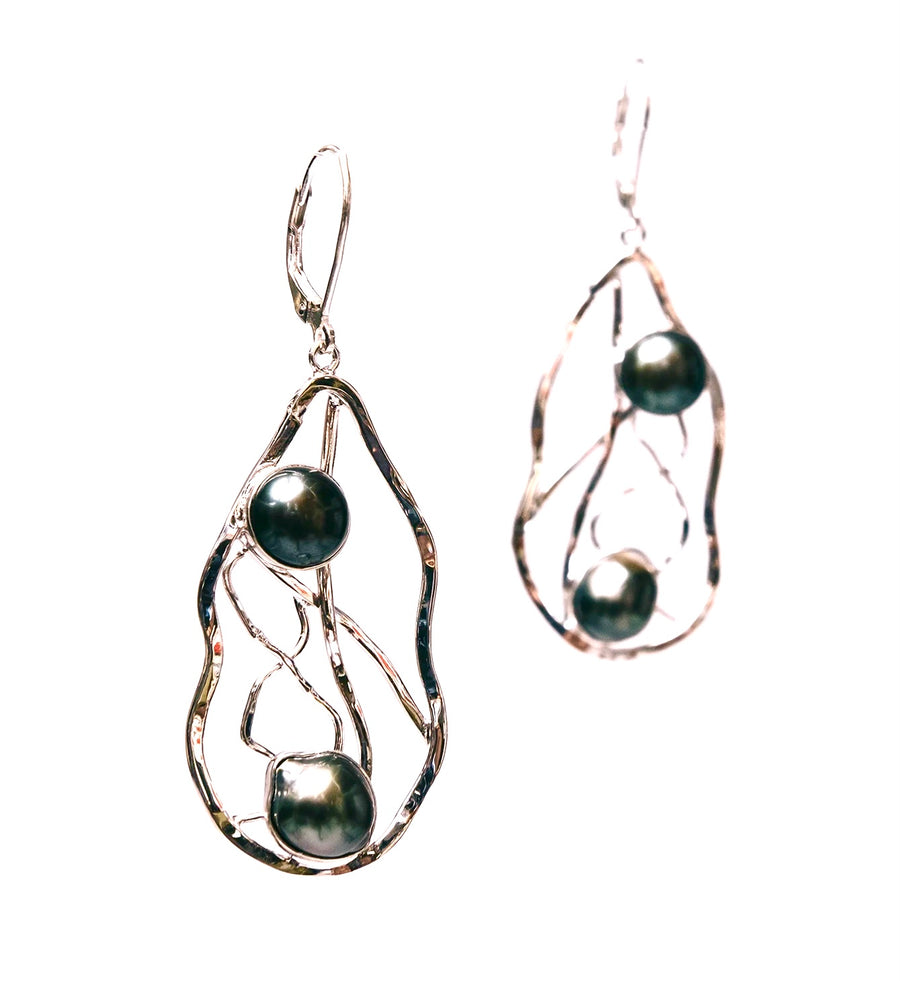 Doubled Tahitian Pearl Earrings