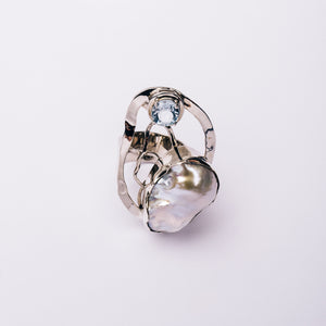 Large Baroque Ring With Topaz