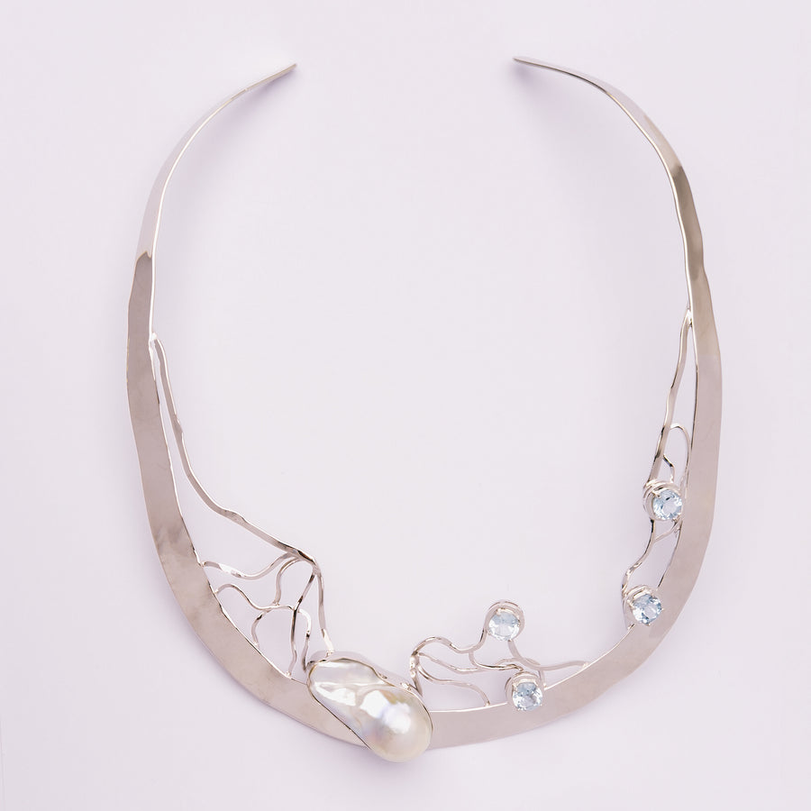 Single Baroque and Blue Topaz Choker