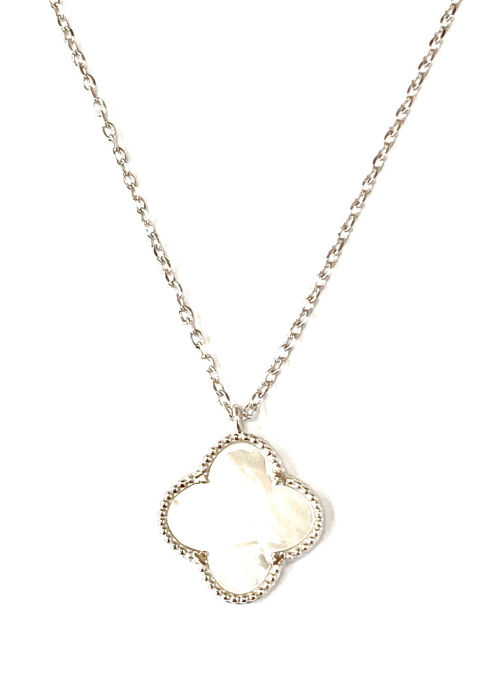 White mother of pearl silver clover  pendant