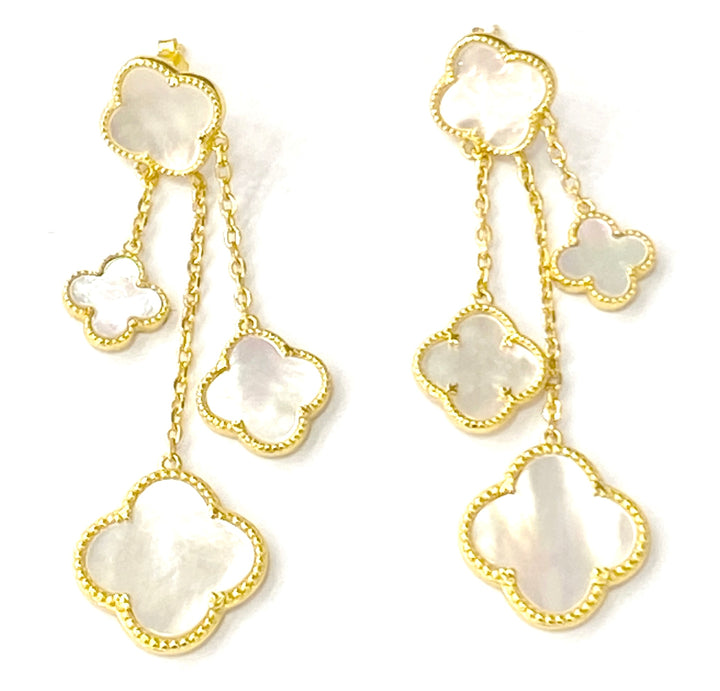 Gold plated mother of pearl with three drops earrings