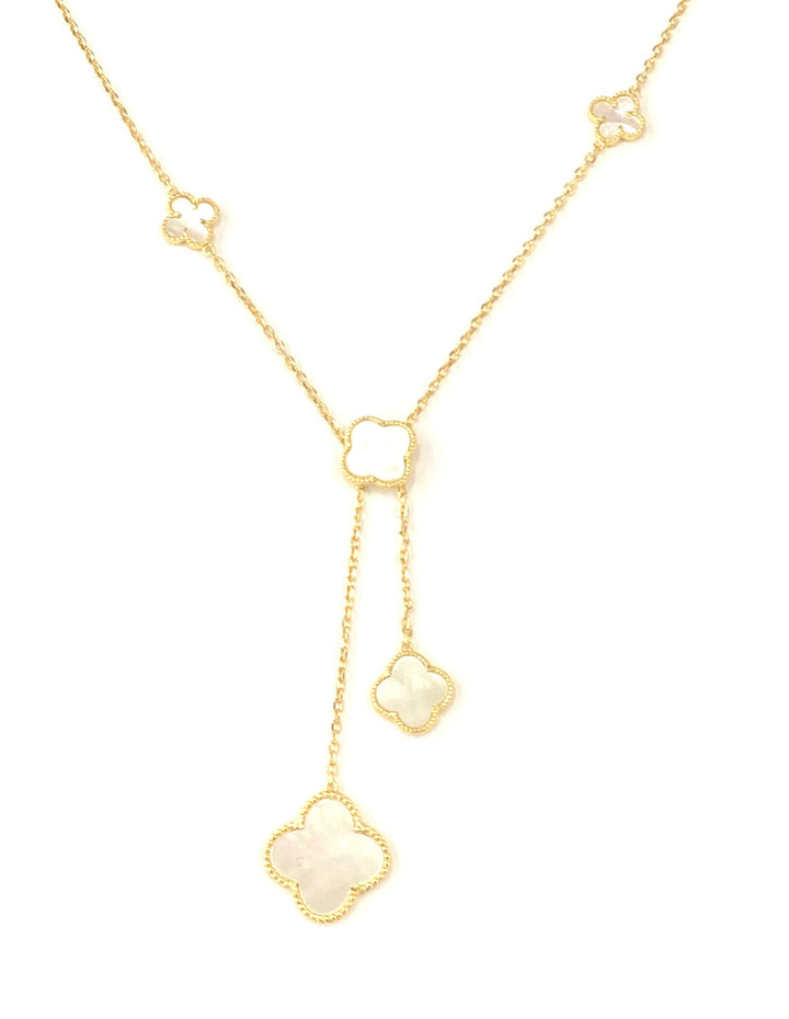 Mother of pearl droplets clover necklace